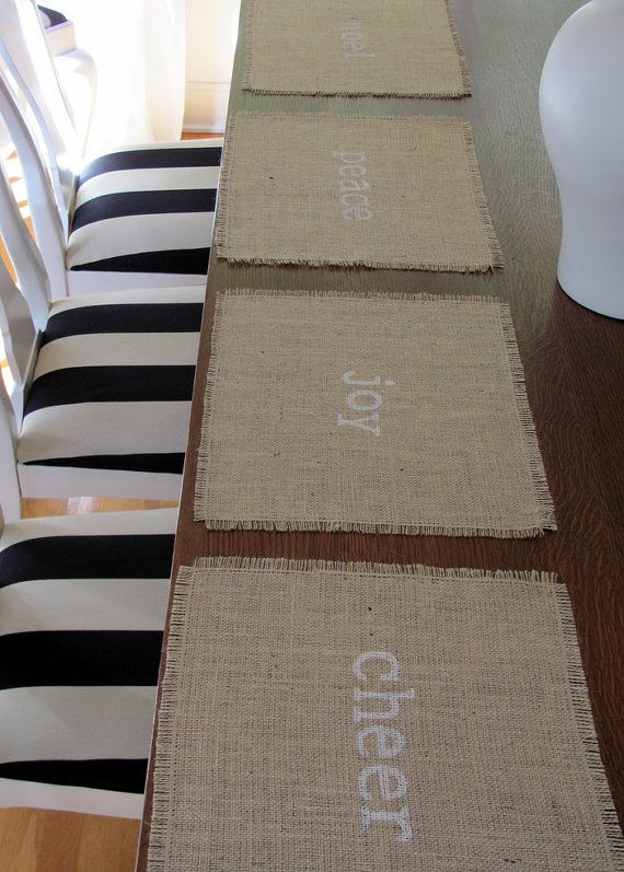 Holiday Burlap Place Mats Set of Four (peace, joy, noel, cheer)