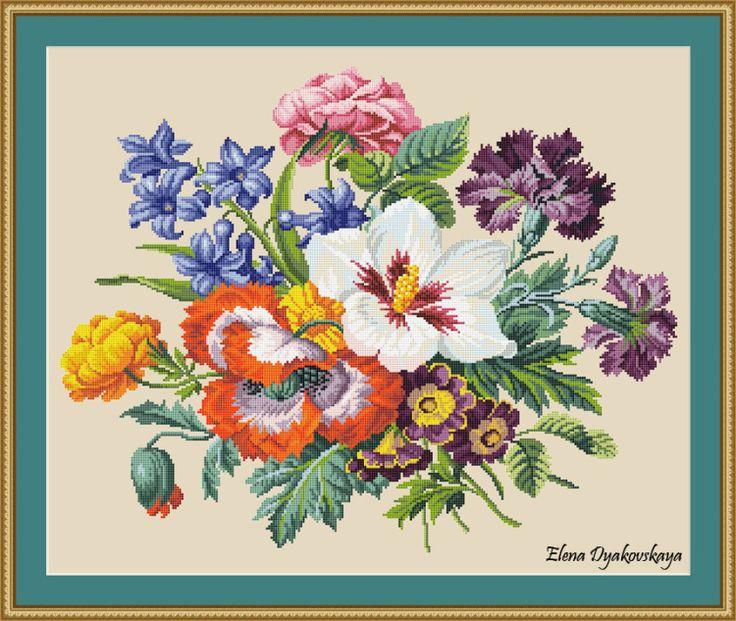 Gallery.ru / Фото #3 - Bouquet of garden flowers - Berlin pattern - lenadep