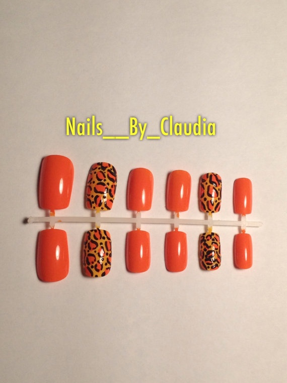 Yellow & Orange cheetah/leopard print Fake Nails by NailsByClaudia, $9.95