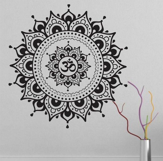 Mandala Wall Decal autocollant Yoga Om Namaste Yoga par VandyVinyl
