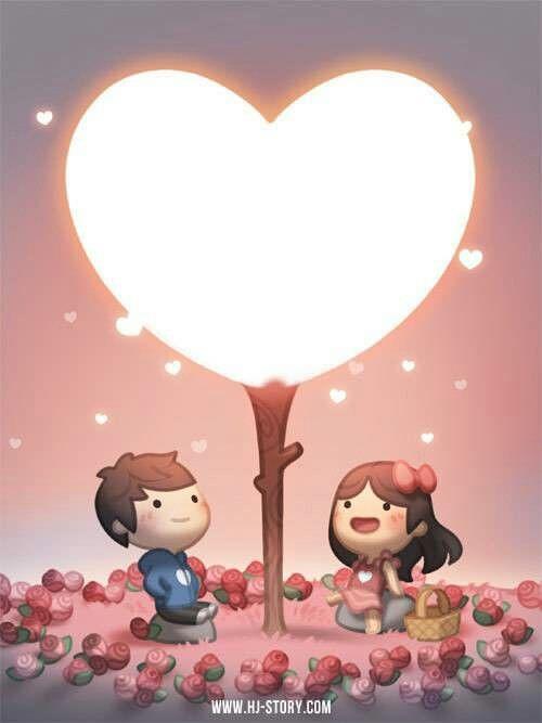 Dos niños sentados en un jardín de rosas viendo un arbol con un corazón gigante alumbrando y expulsando corazoncitos pequeños