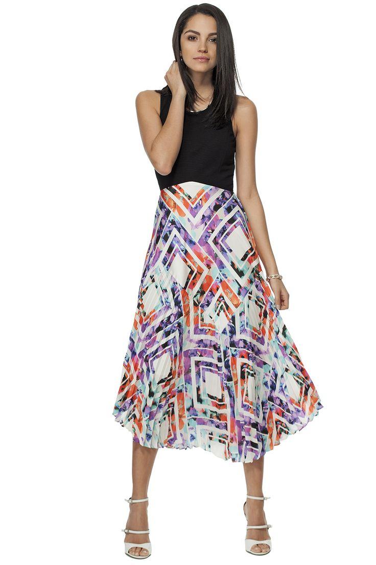 Robe imprimée & dos croisé / Pleated printed fit & flare dress #tristanstyle #dress #ss15