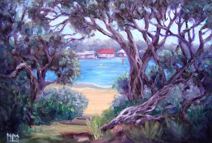'Day 16 Moonahs - Ocean Grove' I love the twisted shapes and patterns of the Moonah trees and this view through to the Barwon River Estuary was the subject that attracted me today.