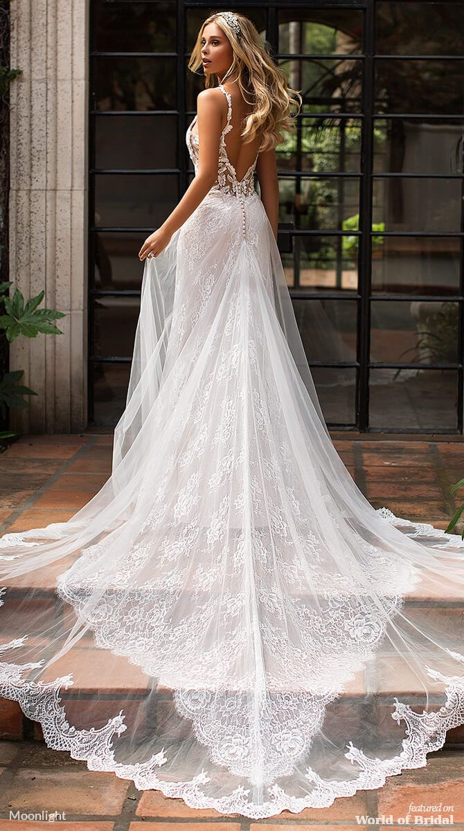 Moonlight Bridal Spring 2019 Wedding Dresses World Of Bridal Wedding Dresses Lace Mermaid Wedding Dress Wedding Dress Trends [ 1200 x 670 Pixel ]