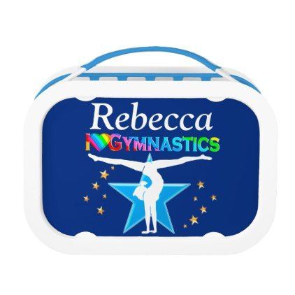LOVELY BLUE GYMNAST GIRL PERSONALIZED LUNCH BOX - kitchen gifts diy ideas decor special unique individual customized