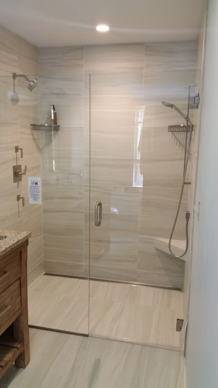 Curbless shower installation by Valley Floors. in 2019