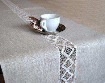 Table Runner Natural Undyed Linen Table Runner by LinenLifeIdeas