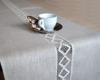 Table Runner Natural LinenRunner With Lace Gray by LinenLifeIdeas
