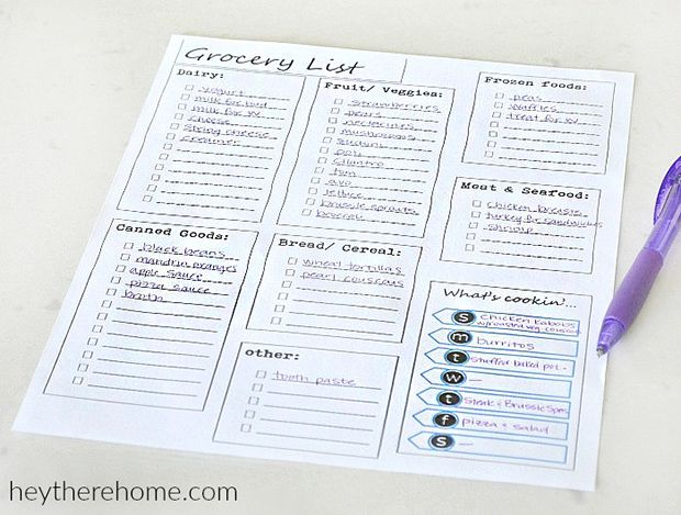 Meal Planning Template Grocery List