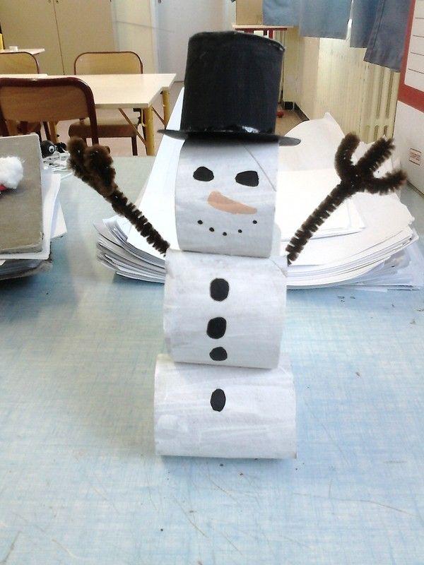 lesbricodelo.centerblog.net, craft, recycle, primary school, elementary school, toilet paper rol, snowman, season, x-mas, christmas, knutselen, kinderen, basisschool, wc-rol, toiletpapier rol, sneeuwman, kerstmis, seizoenen