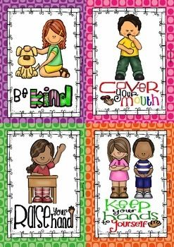 MIND YOUR MANNERS (8 POSTERS AND 8 CARDS) 50% FOR 24 HOURS - TeachersPayTeachers.com