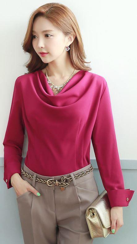 StyleOnme_Cowl Neck Long Sleeve Blouse #autumn #trend #look #koreanfashion…