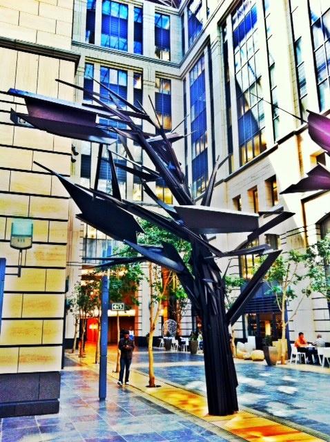 An urban tree made of wood. Phase 2, Nedbank.