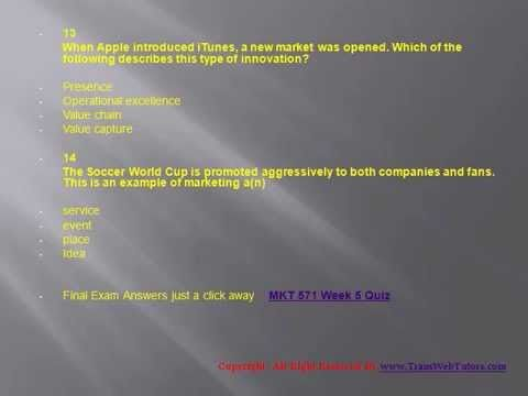 TransWebeTutors helps you work on MKT 571 Week 1 Quiz UOP Course Tutorial and assure you to be at the top of your class.