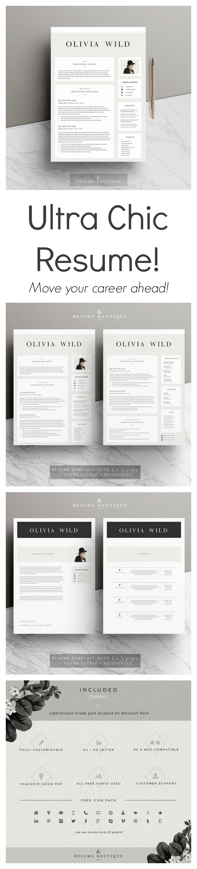 """This is such a stylish and professional resume template! Move your career ahead using it.  #Resume #Template 5 pages 