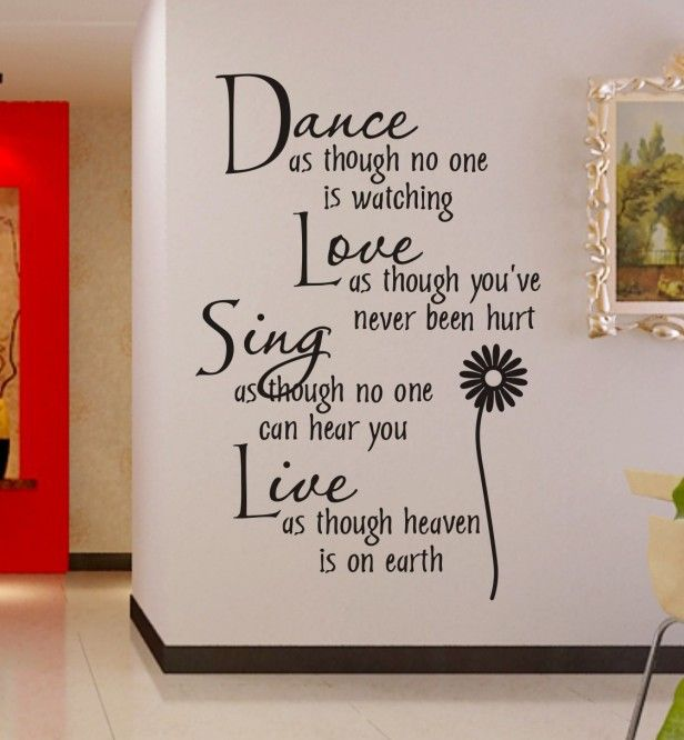 Dance Love Sing Live Wall Quotes Decal Removable Stickers Decor Vinyl Art Color Dance Love The Wall Sticker Is Made Of Good Quality Of Pvc Material