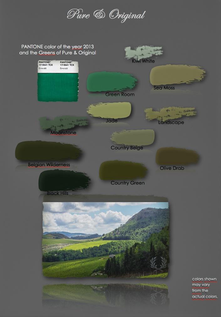Greens by Pure & Original based with Pantone 2013 17-5641.   http://www.pure-original.nl/verf_kleurenkaart.php