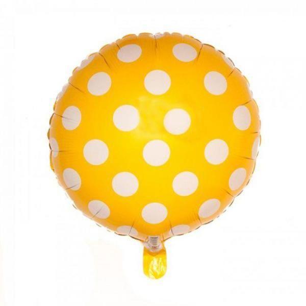 Beyaz Puantiyeli Sarı Renk Folyo Balon