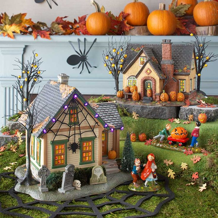Trick-Or-Treat Lane SeriesDimensions: 6.69in H x 7.87in W x 8.66in L Department 56#: 4030757Item Details2nd in the series, designed for Family Fun Halloween - The Pumpkin House was inspired by images of pumpkin festivals with multitudes of carved jack-o-lanterns. Ours are LED lit, but the home owners took it further over the top by adding lit jack-o-lantern lights to the bare branch tree in the yard. The stucco mid-century is at home in any neighborhood and painted a perfect shade of…