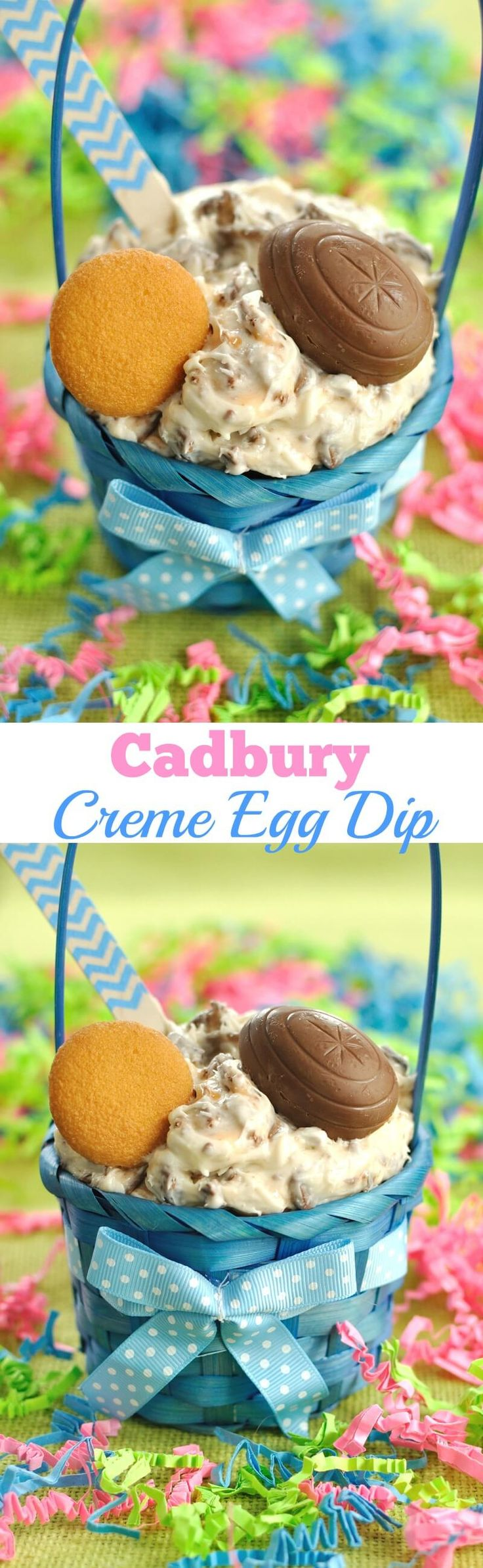 5 ingredient dessert dip recipe for Easter made with Cadbury Creme Eggs. This Cadbury Creme Egg Dip will be a hit at your Easter party.