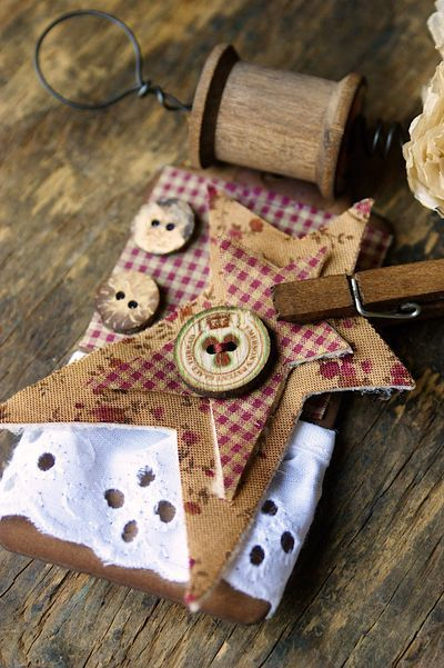 This piece is part of a sewing inspired, rustic banner created by Hilary Kanwischer