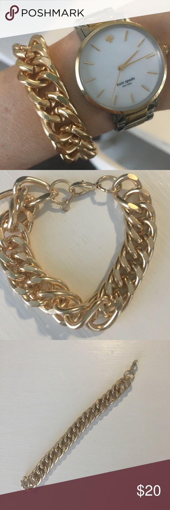 Gold link bracelet Beautiful gold link bracelet. Not real gold. (Watch not for sale) Jewelry Bracelets