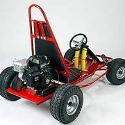 Build a go-kart using readily available parts and a lawn mower engine. This is a very simple design built with junk yard scavenged parts mostly. Remember web uilt this as kids, the dimensions would alter somewhat for bigger riders.