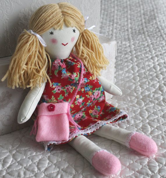 Rag doll  handmade fabric doll forever doll for by Jamberoon