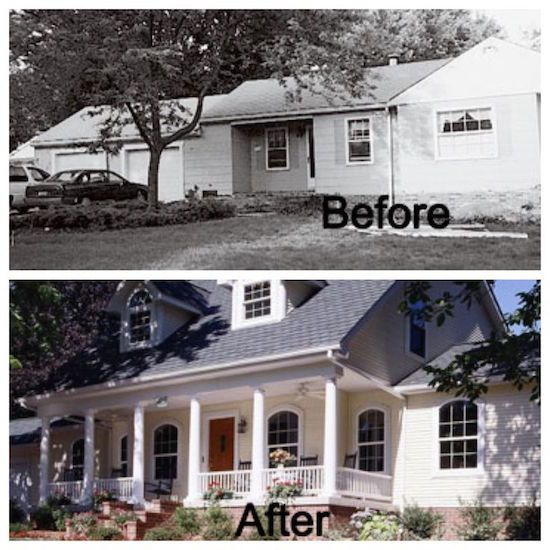 Before and After Pics - Front porch and second floor addition completely changes the exterior of this home