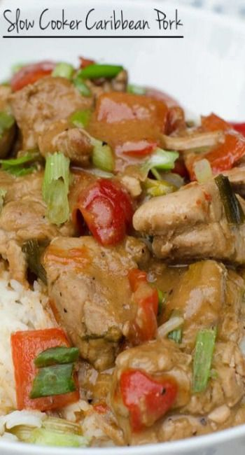 SLOW COOKER CARIBBEAN PORK ==INGREDIENTS== 1 (2lb package) pork tenderloin or sirloin tip roast, Olive oil, Salt and fresh ground pepper, 2 small or 1 large red bell pepper, 6 green onions, 3T hoisin sauce, 2T lower-sodium soy sauce, 1 lime, 2T creamy peanut butter, 1t cumin, 1/2t salt, 1/2t crushed red pepper, 1 heaping garlic, 1/2c chicken broth, 2T water, 1T cornstarch, 2c basmati rice ================
