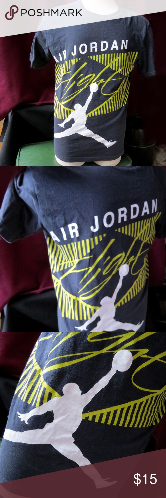 Classic Nike Air Jordan Flight T-Shirt Sz M NBA Pretty sweet men's worn-in Nike Air Jordan Flight basketball T-shirt in size M. The front features the Michael Air Jordan Flight logo over yellow abstract graphic, and the back has the Air Jordan logo.  Good preowned condition. No rips or tears, but has been washed and worn often, so the black fabric shows fading, and some of the vinyl shows cracking. Please see all photos. From a smoke-free home.  From a smoke-free home. Air Jordan Shirts Tees…