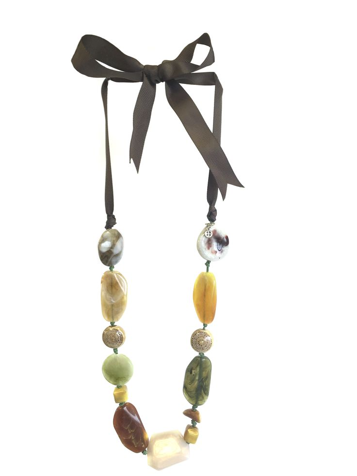 Mae by One Button – mixed ceramic/acrylic beads on grosgrain ribbon #coffee #khaki #cream #gorgeousgreens #necklace #accessories #onebutton Click to buy from the One Button shop.