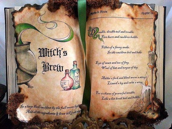 Witchs Brew Macbeth Spell Potion Book Prop By