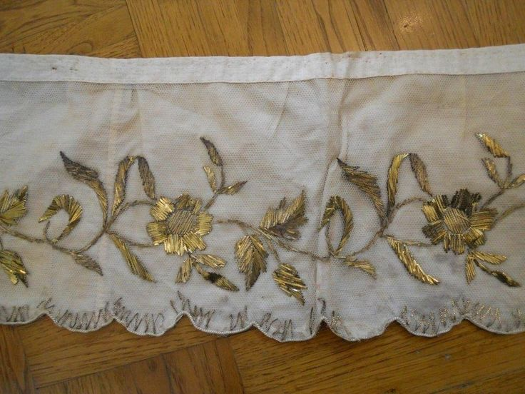 ANTIQUE FRENCH 19 TH-CENTURY ALTAR FRONTAL GOLD  METALLIC EMBROIDERY  ON TULLE