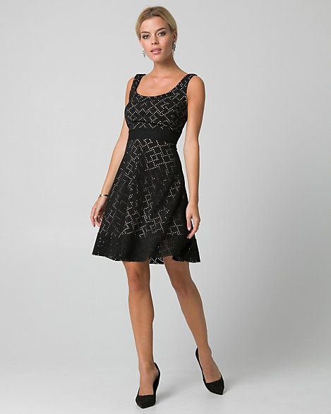 LE CHÂTEAU: Laser Cut Knit Scoop Neck Dress