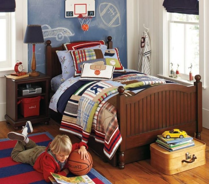 Cool And Trendy Sports Themed Kids Room Decors : Stylish Blue And White  Sports Kids Room Design With Classic Wood Frame Bed And Red Blue Str.