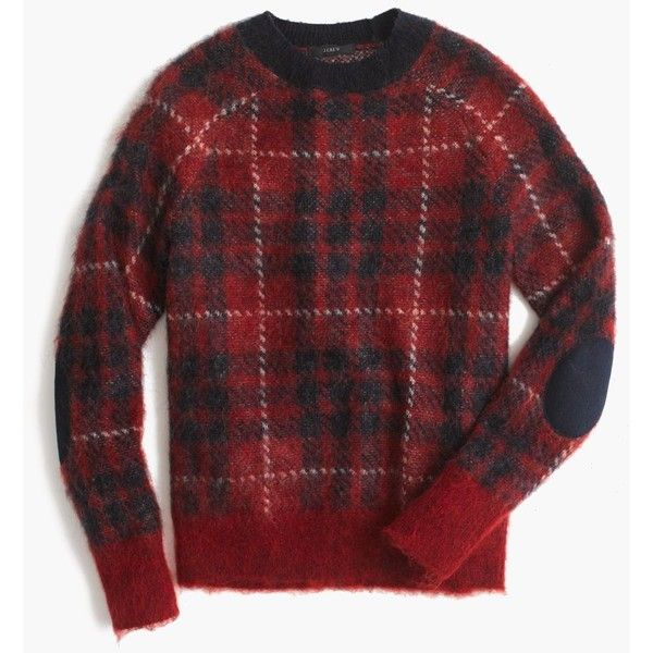 J.Crew Brushed Wool-Blend Crewneck Sweater ($130) ❤ liked on Polyvore featuring tops, sweaters, crew neck tops, red crew neck sweater, tartan top, j crew top and j.crew