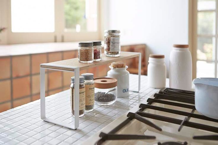 Slim and compact Spice rack from #tosca line! Tosca Kitchen Rack #yamazakihome #yamazakitosca #kitchen #kitchenrack #spicerack #scandinavian #japanesedesign #interiordesign #kitchenstorage #countertop #tabletop #kitchenorganizer #housewares