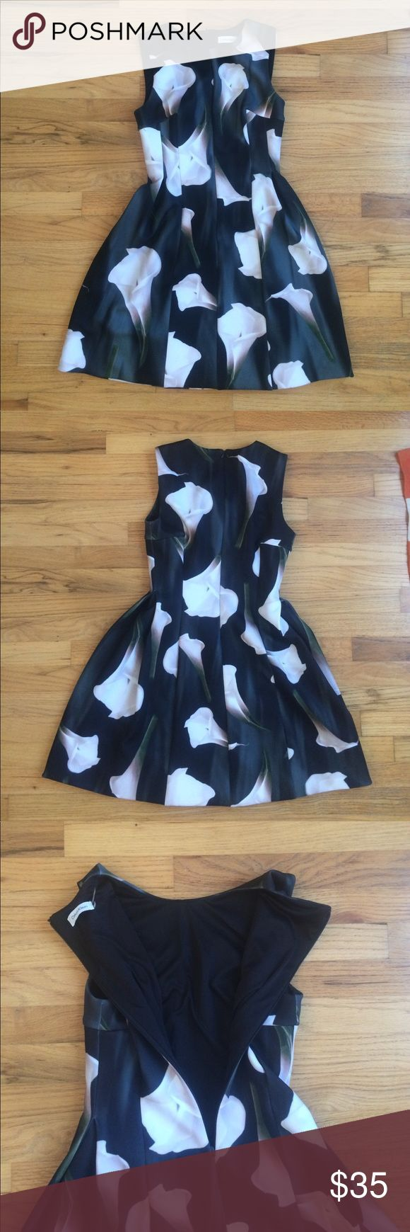 "Calvin Klein Tulip Dress w/Calla Lilly print Size 4 - Calvin Klein - fully lined -  35"" bust (fit me 34B perfectly) - 28"" waist - 35"" length (shoulder to hem) Scuba like stretch material - pleats at the waist - no damage! - smoke free pet free home - Calvin Klein Dresses Midi"