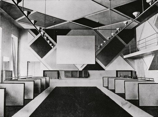 The cinema and ballroom of the Cafe Aubette designed by Theo van Doesburg photographed in 1928 - click through to read full article on van Doesburg, the 'Avant-garde apostle'