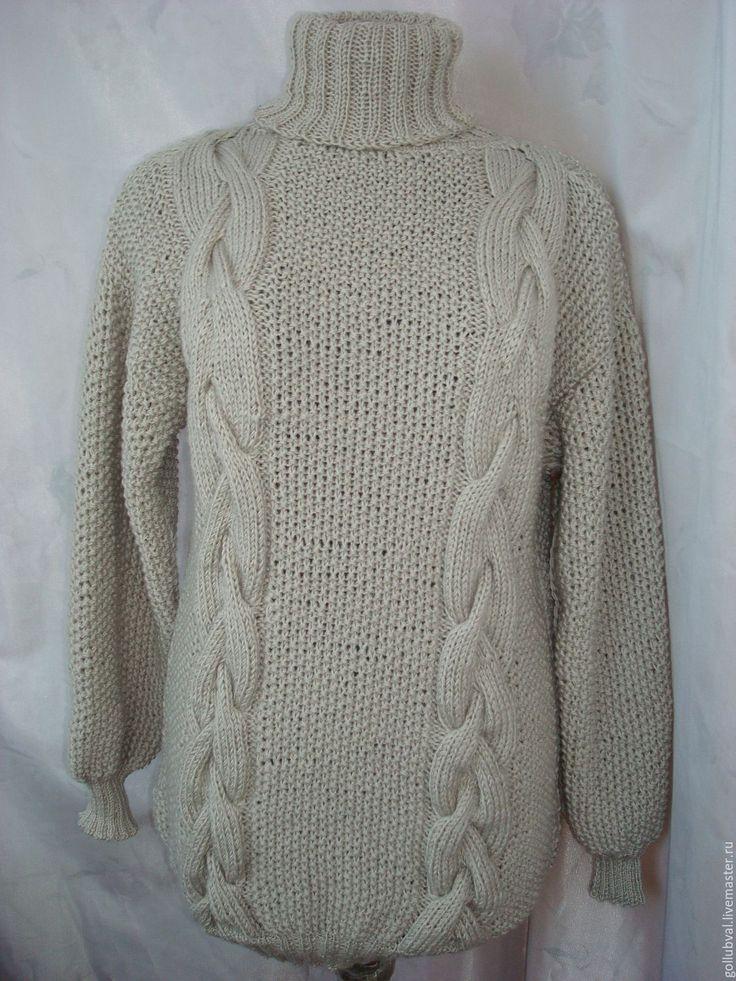 Купить объмный свитер унисекс с косами бежевый - бежевый, свитер, гольф, водолазка, косы, араны