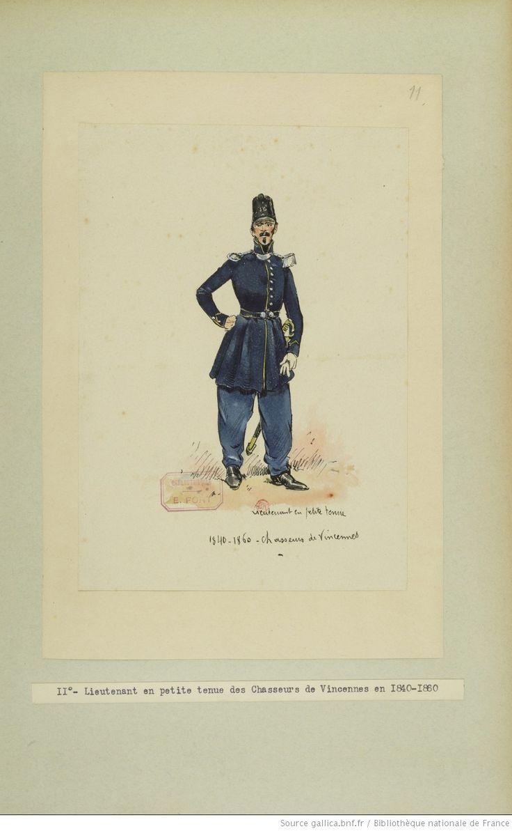 French; Chasseurs de Vincennes, Lieutenant, Petite Tenue, 1840-60 by E.Fort