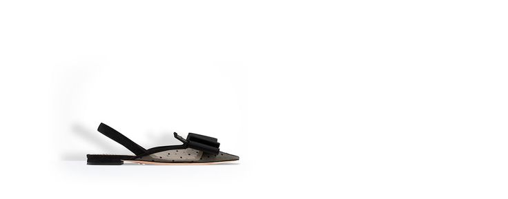Nude and black dotted swiss tulle ballet pump, grosgrain bow, 1 cm - Dior