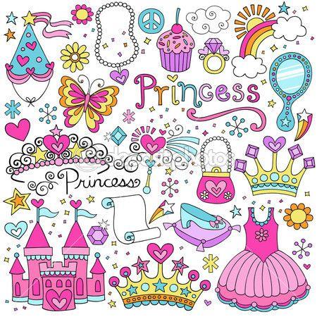 Fairytale princess modello senza soluzione di continuità con diadema, corona, castello e tutù-notebook abbozzato doodle design elementi progettazione — Illustrazione vettoriale #19081157