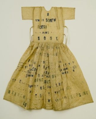 Lesley Dill, Large Poem Dress (A Single Screw) 1993, ink on paper