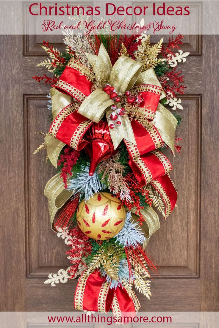 This Amazing Christmas Swag Will Get Your Front Door Noticed This Holiday This Gorgeous Swag Can Take Y Christmas Wreaths Red Christmas Wreath Christmas Swags