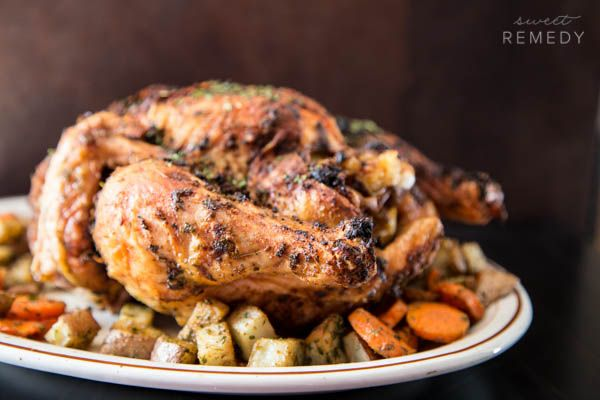 This Whole Herb Roasted Chicken is slathered with olive oil, parsley, garlic powder and paprika! When I get to the grocery store, I try my very best to stay along the outside of the aisles in an attempt to eliminate processed foods. Potato chips are my junk food weakness and I just lose all self …