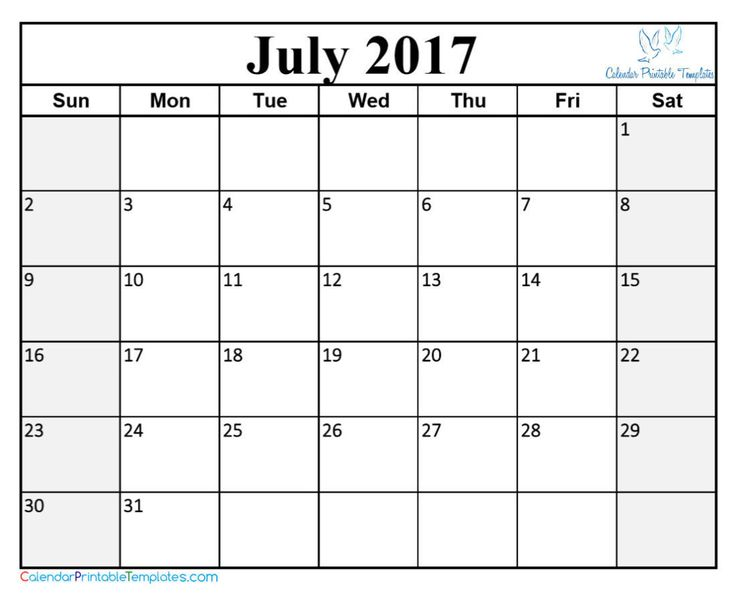 37 Best July 2017 Calendar Images On Pinterest | Printable