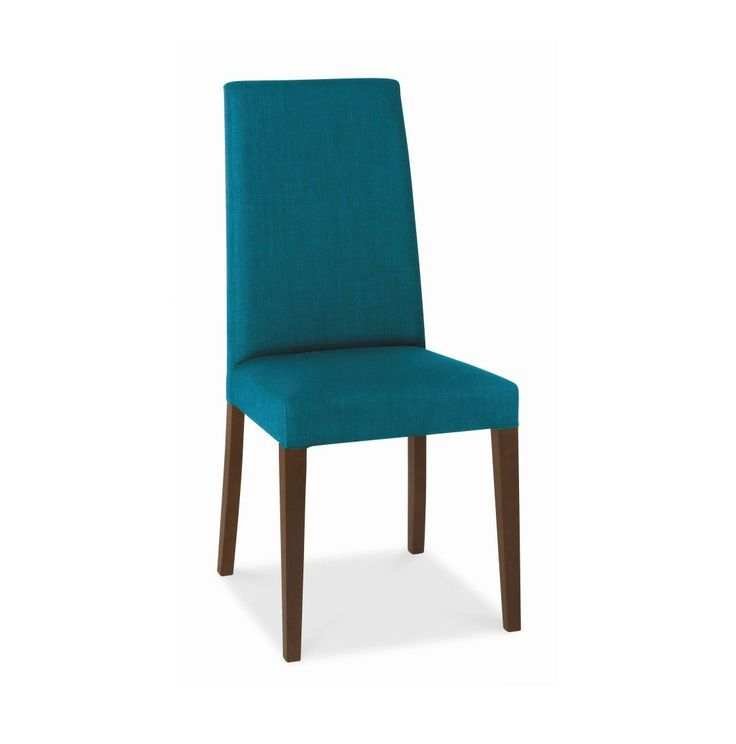 Lyon Taper Back Teal Upholstered Dining Chair With Walnut Legs