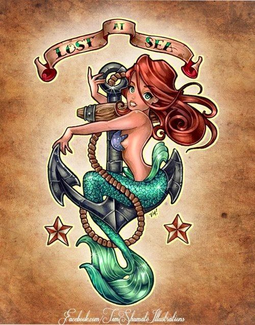 30 fantastic mermaid tattoo designs anchor tattoos ariel and tattoo. Black Bedroom Furniture Sets. Home Design Ideas